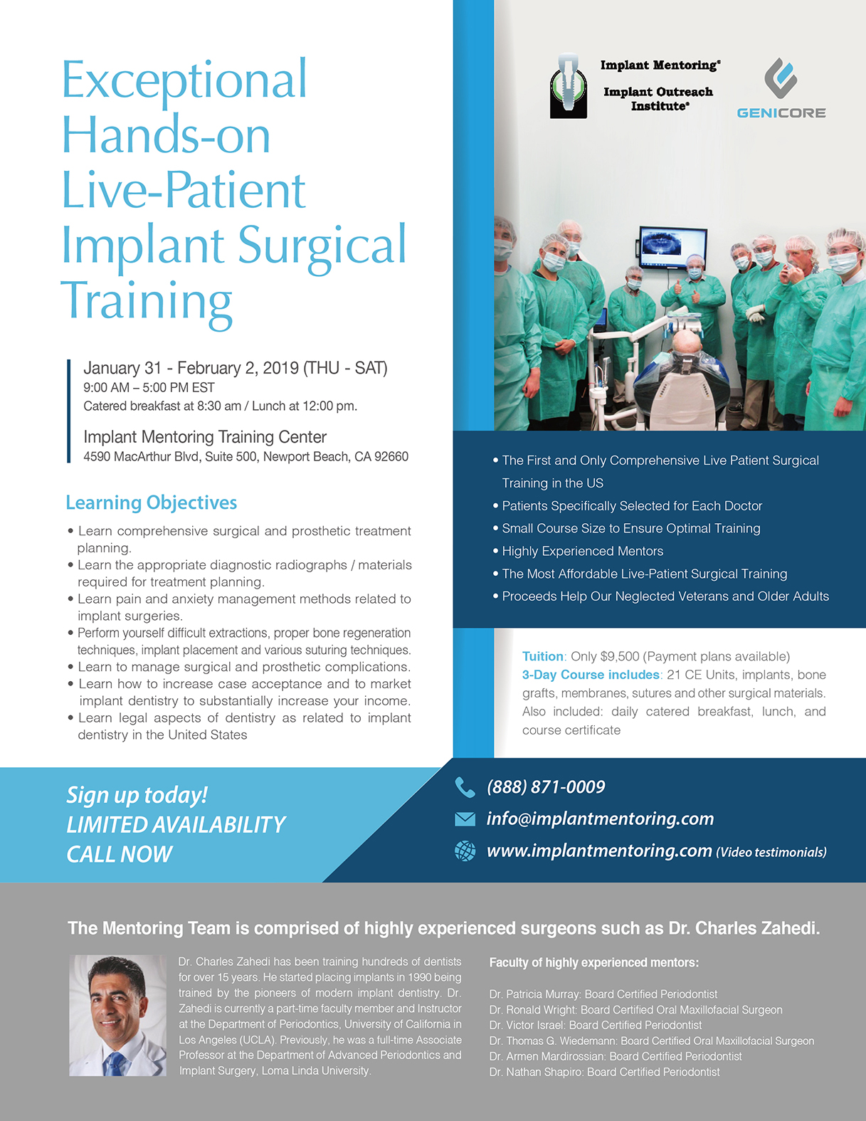 Exceptional Hands-on Live-Patient Implant Surgical Training - January 31 to February 2, 2019